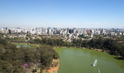 Aerial view of Ibirapuera park in Sao Paulo city, Brazil. Prevervetion area with trees and green area of Ibirapuera park. Office buildings and apartments in the background on a sunny day.