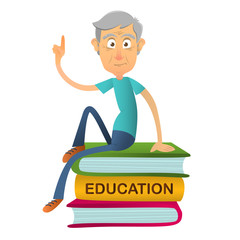 Elderly man teacher reads sitting on stack of giant books. Concept of education for the elderly. Vector cartoon illustration. Senior person shares knowledge