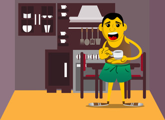 Yellow man holding a cup of coffee. Vector cartoon illustration.
