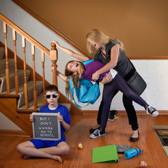 Stress Mother Late for Back to School with Kids in House