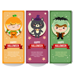 cute halloween banner collection with costume kids