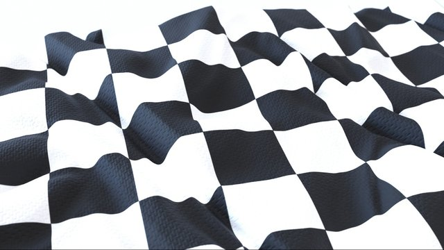 3d render, Realistic Wavy Flag of checkered .