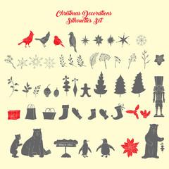 Christmas decoration silhouettes set