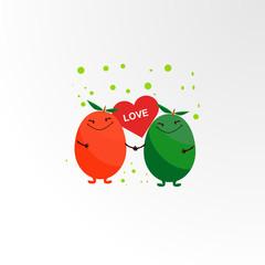 cute fruits logo icon for t-shirt design