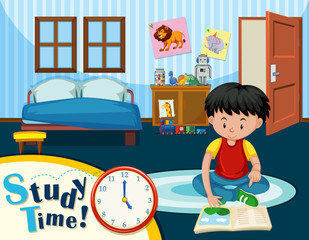A boy studying in bedroom
