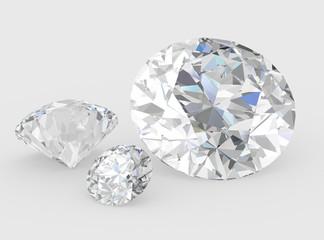 Diamond on white background , 3D illustration.