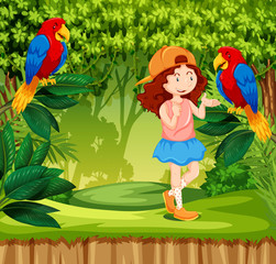 A red hair girl in jungle with parrot