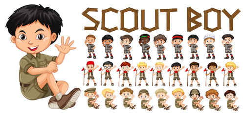 A set of scout boy character
