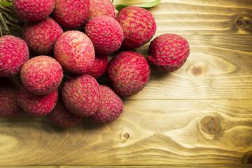 Lychee Chakrapad on wooden floor, Fruit in Thailand