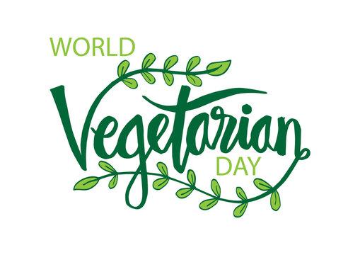 World vegan day Lettering.