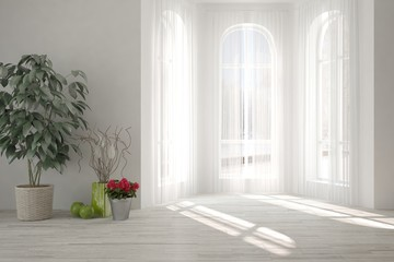 White empty room with home decor. Scandinavian interior design. 3D illustration