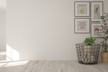White empty room with home decor. Scandinavian interior design. 3D illustration