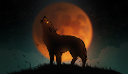 Digital illustration art painting a wolf howling in the wild, big fool moon and clouds is background. terrible, horror lonely, scary, creepy concept.