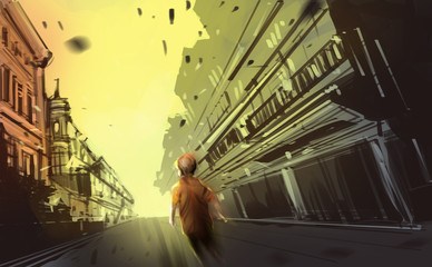 a boy walking in abandon town, digital illustration art painting design style.