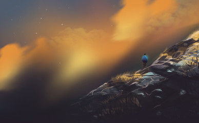 hiker, a man standing on the high mountains in sunset, digital illustration art painting design style.