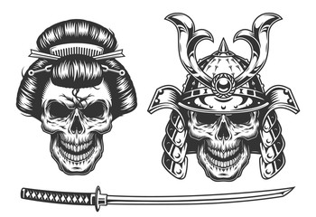 Geisha and samurai concept with skull