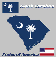Map outline and flag of South Carolina, White palmetto tree on an indigo field. The canton contains a white crescent. With American flag.