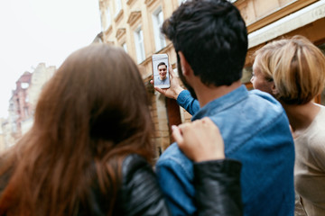 Video Communication. People Using Phone For Video Call