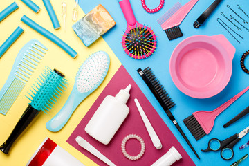 Photo accessories of hairdresser, combs and scissors