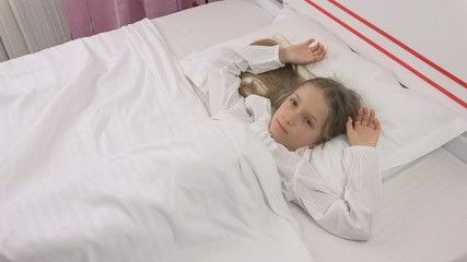 Thoughtful Child in Bed, Sad Unhappy Kid, Girl Can't Sleeping in Bedroom