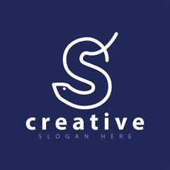 Line Letter S Snake Logo vector template