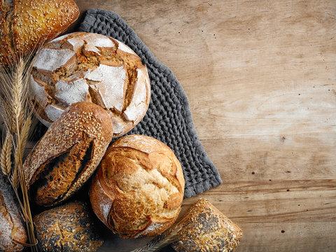 various freshly baked bread