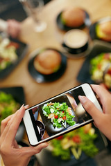Food Photography On Smart Phone In Restaurant