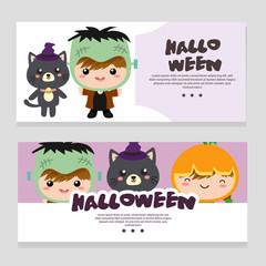 halloween theme banner with cartoon costume kids