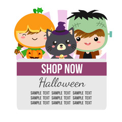 halloween theme with cartoon costume frankenstein kids