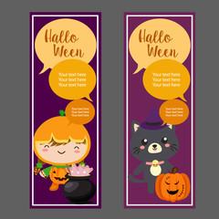 halloween vertical banner with pumpkin cartoon costume kid