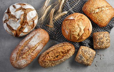 various freshly baked bread