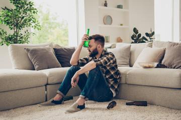 People, problem, concept. Brunet bachelor, alcoholic man, sit in