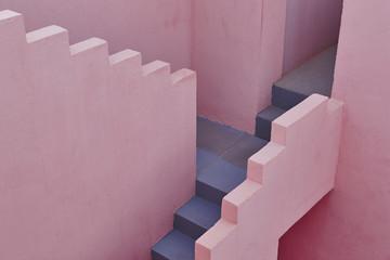 Geometric building stair detail. The red wall, La manzanera. Calpe