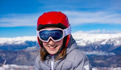 Little girl at ski school