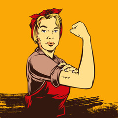 Comic Retro Strong Powerful Woman inspired by Rosie the Riveter used as a symbol of American feminism and women's economic power