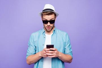 Bearded trendy stylish shocked guy wearing casual shirt, black s