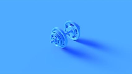 Blue Barbell Dumbbell 3d illustration 3d rendering