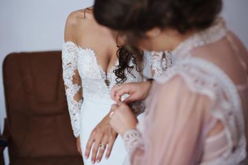 neckline of the bride