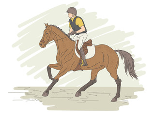 Equestrian sport. Eventing. The horseman rides at a gallop on horseback.