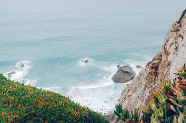 Coast of Portugal, Cape Cabo da Roca - the westernmost point of Europe. Ocean waves