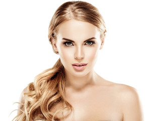 Blonde woman beauty with beautiful hair eyes and healthy skin