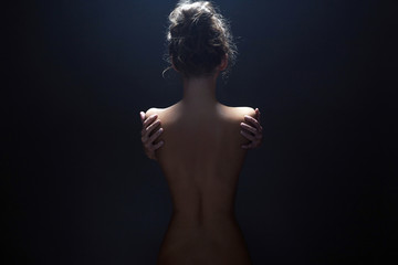nude body girl. Naked woman back