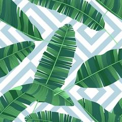 Wall Mural - Seamless pattern tropical banana leaves on geometrical ornament