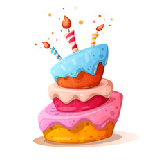 Cartoon cake illustration with candle. Happy birhday. Vector eps 10