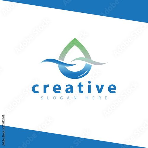 Water Droplet Wave Logo Icon Vector Template Stock Image And