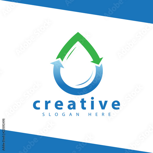 Water Droplet Arrow Logo Icon Vector Template Stock Image And