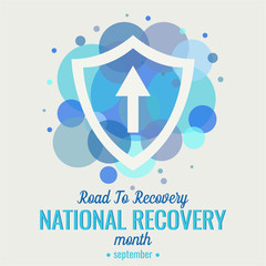 National recovery month, Road to recovery card or background. vector illustration.
