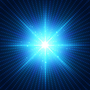Abstract technology futuristic blue neon radial light burst effect on dark background.
