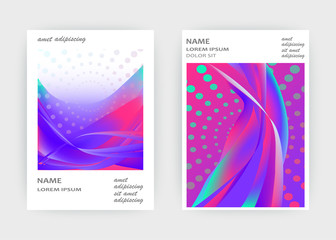Fluid liquid shapes composition. Wavy geometric background. Colorful abstract backdrop. Halftone circles elements. Trendy gradient waves template vector Poster Layout Magazine Flyer