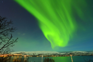 Green northen lights from Tromso in Norway